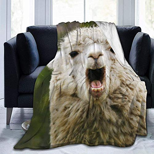 Manta de Tiro Cute Llama Wildlife Manta de Microfibra Ultra Suave Manta de Cama súper Suave y acogedora para Cama Sofá Sofá Sala de Estar Picnic de pl