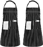 InnoGear Unisex Delantal de Babero Ajustable Delantales de Repelente de Agua con 2 Bolsillos Cocina de Cocina Delantales de Raya para el Hogar Cocina Restaurante, Pack de 2