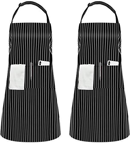 InnoGear 2 Piezas Ajustables Delantales Bib Delantales Impermeables del Cocinero con 2 Bolsillos Cocina Delantales de Cocina para Las Mujeres Hombres Unisexo, Negro