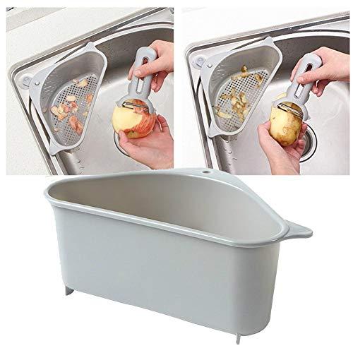 LIANA IRWIN Dreieckiger Korb Küche Waschbecken Spülbecken hängen Lagerregal Sucker Multifunktionsregal Racks (Grau)