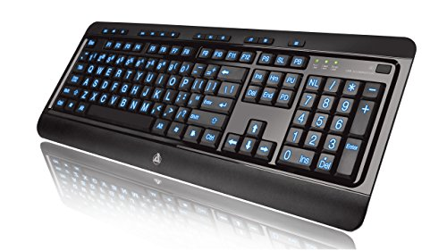 Azio Large Print Keyboard - USB Computer Keyboard with 3 Interchangeable Backlight Colors (KB505U)