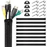 Yecaye 8 Pack 157 inch Cable Management Sleeve, PET Material Flexible Cable Wrap, Black Zipper Cord Sleeves for Computer Office Home, 19.7 inch Each, No-Hassle of Cutting Holes