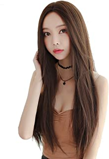 """Natural Hairpieces Front Wig Long Wig 27.5"""" Silky Straight Brown Mixed Blonde Synthetic Wig Women"""