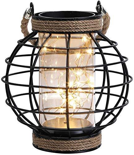 JHY DESIGN Metallkäfig Tischlampe Batteriebetriebene 18,5 cm hohe kabellose Akzentleuchte mit 20 Stück Lichterketten für Hochzeiten Partys Terrassen Veranstaltungen für drinnen/draußen