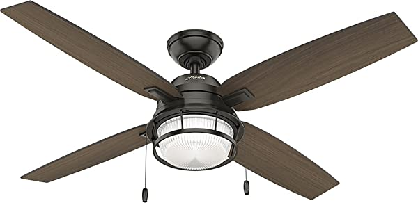 Hunter Indoor Outdoor Ceiling Fan With LED Light And Pull Chain Control Ocala 52 Inch Nobel Bronze 59214