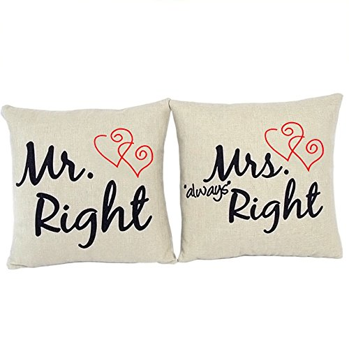 Natural Home 2er Set Mr. Right & Mrs. Always Right Kissenbezug Lendenkissen Bettkissen Pillowcase Kissenhuelle Haus Sofa Zimmer Auto Dekokissen 45 x 45 cm