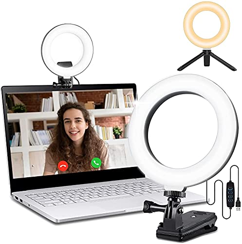 """6.3"""" Video Conference Lighting , L8star Ring Light for Laptop with 3 Switchable Light Modes for Distance Learning, Remote Working, Live Streaming, Computer Laptop Video Conferencing"""