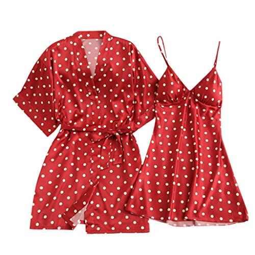Women Sleepwear Pajama Set Sexy Underwear V-Collar Robe Lingerie Soft Dot Print Sling Nightgown Red