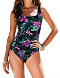 Firpearl Women's Retro One Piece Bathing Suit Ruched Tummy Control Swimsuit Green Floral US14