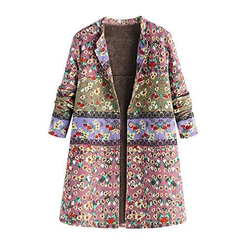 HaiDean Vinatge winterjas voor dames, met knoop en oversize, moderne lange jas, warme outwear met fleece voering, winterjack, grote maat teddy fleece mantel