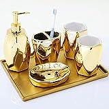 Tauzveok Accesorios De Baño Cerámica Juego Baño Oro 6 Piezas Juego Baño Accesorios Bandeja Dispensadora Jabón Soporte para Cepillo Dientes Jabonera Cepillo Dientes Vaso Vintage,Oro