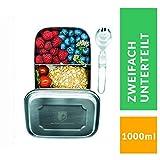 ALPIN LOACKER 1000ml Edelstahl Lunchbox + Göffel | lebensmittelechte Vesperdose für Erwachsene und...