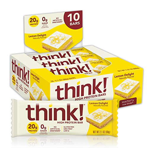 think! (thinkThin) High Protein Bars , 20g Protein, 0g Sugar, No Artificial Sweeteners, Gluten Free, GMO Free, 2.1 oz bar ( packaging may vary), Lemon Delight, 10 Count by Glanbia Performance Nutrition