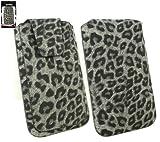 Emartbuy® Klassischer Serie Faux Suede Leopard Grey Tasche Hülle Schutzhülle Hülle Cover (Size 3XL) Mit Ausziehhilfe Geeignet Für Acer Liquid M320 / Acer Liquid M330