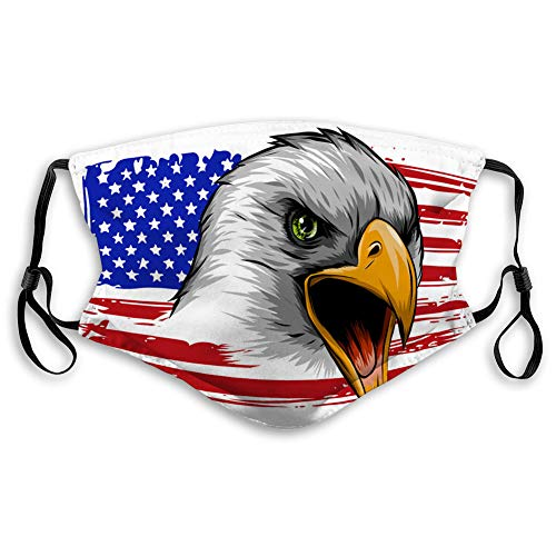 Unisex Mouth Cover Reusable Face Cover American Eagle Against USA Flag Elastic Cover