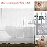 "Waterproof Clear Shower Curtain Liner with 12 Pockets for Tablets Pads PEVA Vinyl Curtains Bathroom Decoration 72"" W x 72"" H"