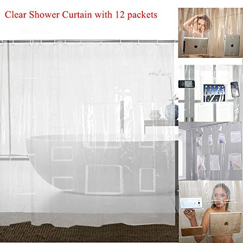 Waterproof Clear Shower Curtain Liner with 12 Pockets for Tablets Pads PEVA Vinyl Curtains Bathroom Decoration 72