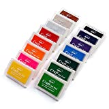 Lsushine Craft Ink Pad Stamps Partner Diy Color,15 Color Craft Ink Pad for Stamps, Paper, ...