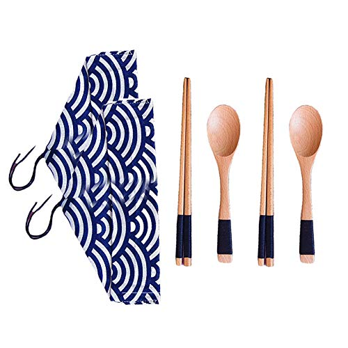 ACAMPTAR 2PC Portable Japanese Vintage Wooden Chopsticks Spoon Tableware Set New Gift Tableware