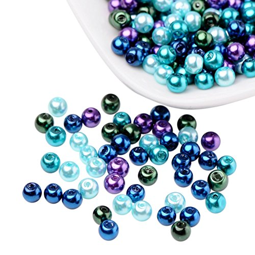 PandaHall 400pcs 4mm Ocean Mix Pearlized Glass Pearl Beads for Earring, Bracelets and Necklace Making