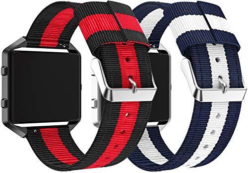 Nylon Trenzado Correa de Reloj Compatible con Fitbit Blaze, Clásicos exquisitos Pulseras de la Correa de los Hombres (Azul Blanco + Vino)