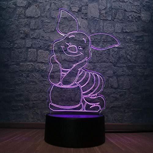 3D Led Usb Cartoon Animal Winnie Bear Friend Porcinet Veilleuse 7 Changement De Couleur Lampe De Table Enfants Chambre Décor Ambiance Vacances Jouets Cadeau D'Anniversaire De Vacances