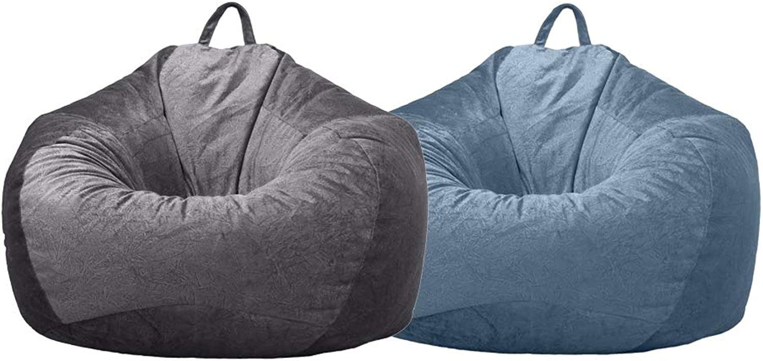 DYNWAVE 2Pcs Lounger Chairs Sofa Cover Velvet Bean Bag Cover with Handle Inner Pockets 60x70cm