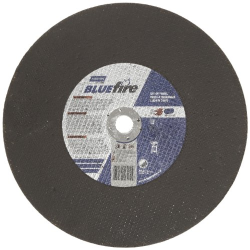 Norton Blue Fire Large Diameter Stationary Saw Reinforced Abrasive Cut-Off Wheel, Type 01 Flat, Zirconia Alumina and Aluminum Oxide, 1