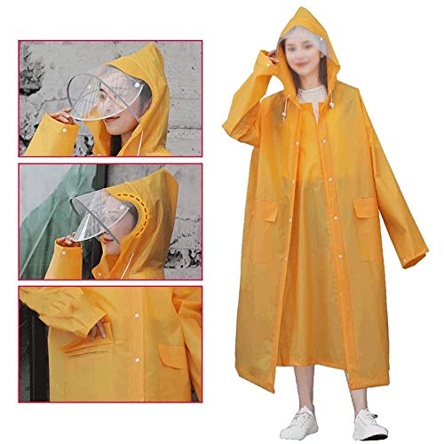 WCJ Herbruikbare Waterdicht Portable Regenjas, Clear EVA materiaal |Portable, Light & Compact |Regenbestendig Poncho Met Hoods & Sleeves for reizen, Festivals (Color : Yellow, Size : M)