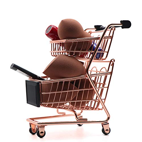 Grandma's Story Mini-Supermarkt Bollerwagen, Beauty-Make-up-Schwammregal, Schreibtisch-Aufbewahrung (doppelstöckig)