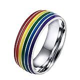 HIJONES Herren Edelstahl Homosexuell und Lesben Lgbt Stolz Ranibow Ring Silber 8mm Größe 54