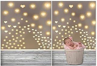 laeacco 3x 150Vinyl dünn Fotografie Sparkling Herzen und Holz Boden Hintergrund Kinder Foto Hintergrund, 1x 1,5m Studio Requisiten