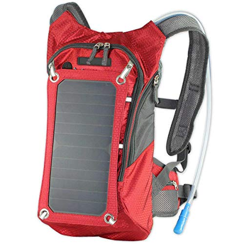XTPower Xplorer Hiker 8 Red | Solar Backpack with 7 Watt Removable Solar Panel and 5V-USB Output | 1.8 Liter Hydration Pouch/Bladder Backpack | Charges smartphones, tablets, GPS and other USB devices