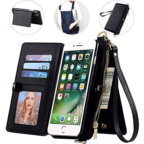 iPhone 8 Plus Wallet Case with Crossbody&Wrist Strap,Auker 2 in 1 Detachable Leather Wallet Case Flip Stand Folding Purse Message Bag with 12 Card Holder&Zipper Money Pocket for iPhone 7 Plus (Black)