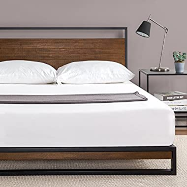Zinus Ironline Metal and Wood Platform Bed with Headboard / Box Spring Optional / Wood Slat Support, Queen