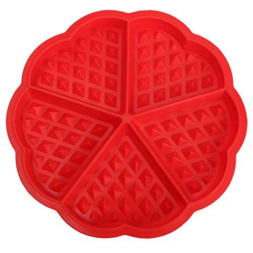Generic Home Silikon Waffel Form Maker Pfanne Mikrowelle Backen Cookie Kuchen Muffin Bakeware Kochen Tools Küche Zubehör Rot 17,5cm