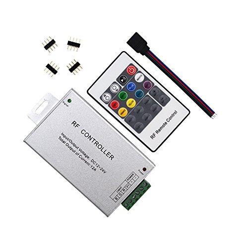 20 Key RF Remote Wireless RGB LED Light Controller Aluminum Case DC 12-24V, 12A for SMD 5050 3528 LED Strip