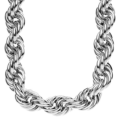 Heavy DMC Rope Style Hip Hop catena cordoncino - 20 mm argento 90 cm