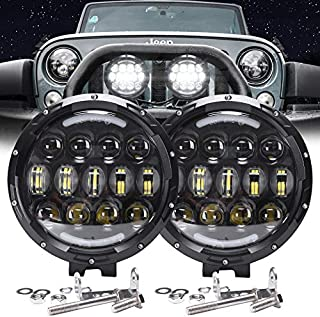 AUDEXEN LED Work Lights, 7 Inch 105W Round Spot LED Pods Light Bar High/Low Beam DRL with Adjustable Mounting Bracket for Jeep Wrangler Off Road 4WD Truck Tractor SUV UTV ATV Driving Lamp, 2 PCS