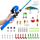 PLUSINNO Kids Fishing Pole,Telescopic Fishing Rod and Reel Combos with Spincast Fishing Reel and String with Fishing...