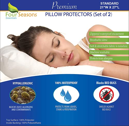 Four Seasons Essentials Standard Pillow Protectors (Set of 2) – Allergy Pillow Cover Waterproof Hypoallergenic Dust Proof Zippered Encasement