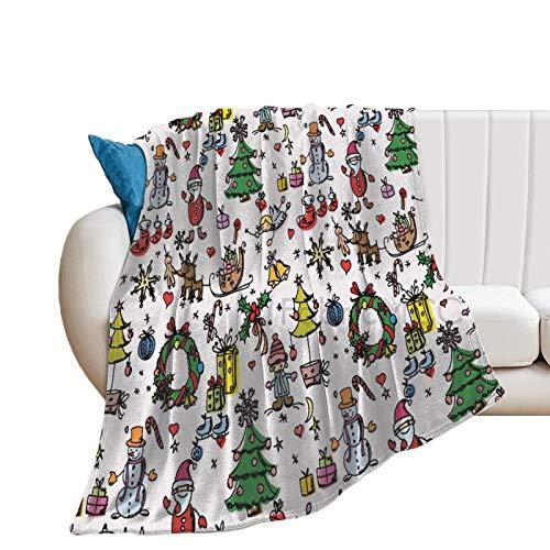 Manta de forro polar, 177,8 x 203,2 cm, manta de cama para guardería, decoración navideña, muñeco de nieve, Papá Noel, manta suave de microfibra
