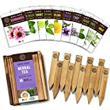 Herb Garden Seeds for Planting - 10 Medicinal Herbs Seed Packets Non GMO, Wood Gift Box, Plant Markers - Herbal Tea Gifts for Tea Lovers, Herb Growing Kit Indoor Garden Starter Kit