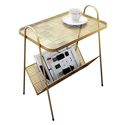 tavolino da caffè Tavolino da caffè in Ferro battuto Dorato, tavolino da Salotto Piccolo, Adatto per tavolino da Salotto, Camera da Letto, Ufficio