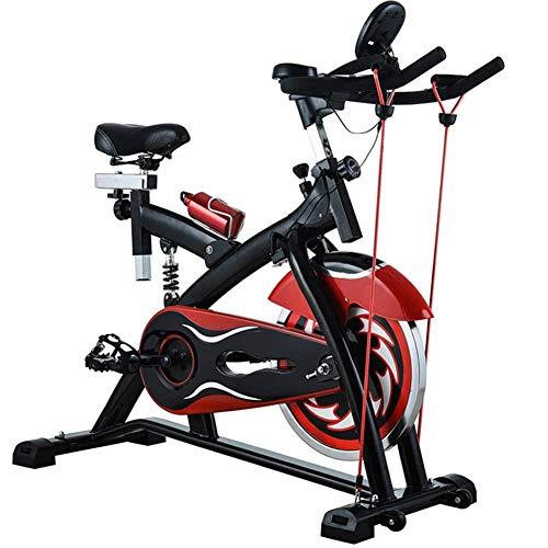 WGFGXQ Bicicleta de Pedales estacionaria, Fitness Cardio Workout Ciclismo en casa con cordón Manillar Ajustable Resistencia del Asiento Monitor Digital Sensores de frecuencia cardíaca