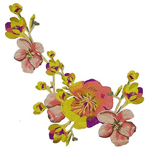 Da. Wa. - Precioso parche de flores bordado para coser o planchar en ropa, bolsos y diferentes tejidos, aplique para costura artesanal, poliéster, Amarillo, 56*33cm