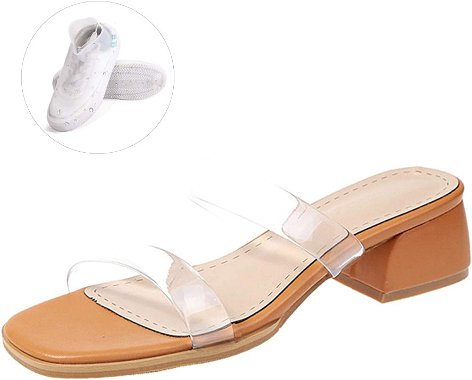 Summer Casual Sandals Women shoes PU Leather, Casual Open Toe Gladiator 4CM Crystal Summer Slippers shoes Women Sandals, with shoes Cover,Brown,7.5US