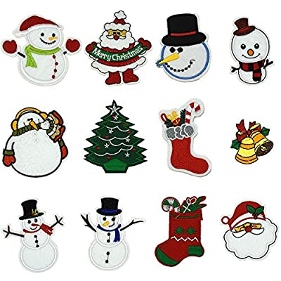 Ewinsun 12 Pcs Christmas Day, Iron On Patches Sew On Decoration Patch