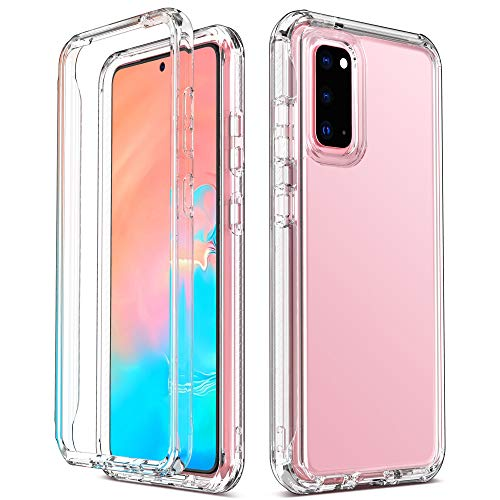 ULAK Galaxy S20 Case, Clear Designed 3in1 Heavy Duty Shockproof Rugged Protection Case Transparent Soft TPU Phone Protective Cover for Samsung Galaxy S20, Crystal Clear