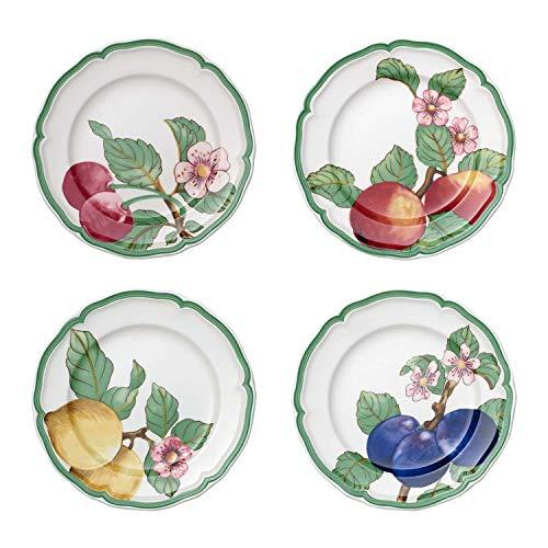 Villeroy & Boch French Garden Modern Fruits Assiette pour le petit déjeuner, Lot de 4, 21 cm, Porcelaine Premium, Blanc/Multicolore